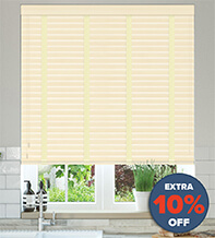 New England Cream Embossed - 50mm Slat Faux Wood Blind with Cream Tape