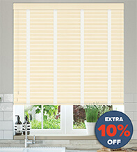 New England Cream Embossed - 50mm Slat Faux Wood Blind with White Tape