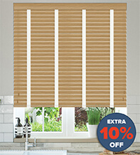 New England Golden Oak - 50mm Slat Faux Wood Blind with White Tape