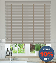 New England Grey - 50mm Slat Faux Wood Blind with Stone Tape