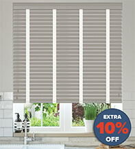 New England Grey - 50mm Slat Faux Wood Blind with White Tape