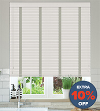 New England Light Grey - 50mm Slat Faux Wood Blind with Grey Tape