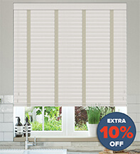 New England Light Grey - 50mm Slat Faux Wood Blind with Pebble Tape