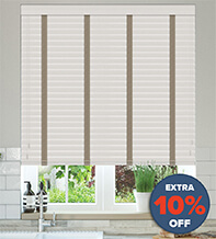 New England Light Grey - 50mm Slat Faux Wood Blind with Stone Tape