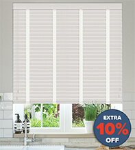 New England Light Grey - 50mm Slat Faux Wood Blind with White Tape