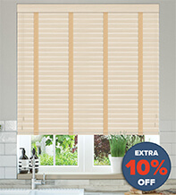New England Natural Oak - 50mm Slat Faux Wood Blind with Sand Tape