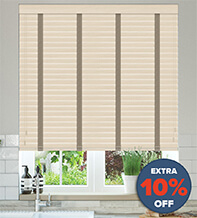 New England Natural Oak - 50mm Slat Faux Wood Blind with Stone Tape