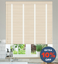 New England Natural Oak - 50mm Slat Faux Wood Blind with White Tape