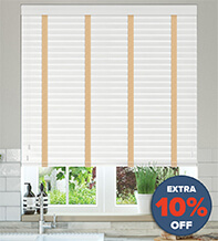 New England White Embossed - 50mm Slat Faux Wood Blind with Sand Tape
