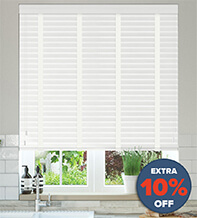 New England White Embossed - 50mm Slat Faux Wood Blind with White Tape