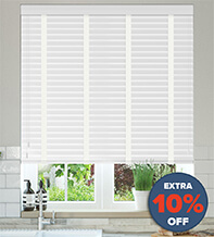 New England Chalk White Gloss - 50mm Slat Faux Wood Blind with White Tapes
